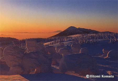 今月の一枚・2008年2月「朝焼けの樹氷」(岩手・八幡平)